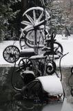 Tinguely雕塑在冬天 免版税库存图片