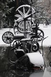 Tinguely Sculpture In Winter Royalty Free Stock Images