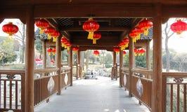 Tingzhong Bridge, Suzhou. Bridge corridor with red lantern, Suzhou, Jiangsu Province, China Royalty Free Stock Photography