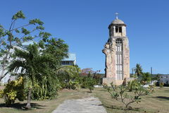 Tinian Church Ruins. Tinian in the Mariana Islands.  Ruins of a pre World War II church destroyed during the 1944 battle to capture Tinian from Japan Stock Photos