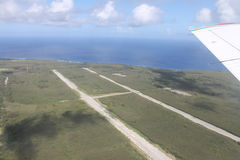 Tinian WWII Ruins From Airplane 2. American World War II airbase on Tinian in the Mariana Islands. The Enola Gay B-29 bomber took off from this base before Stock Image