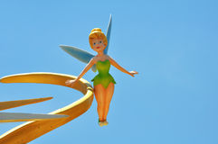 Tinker bell. Disney's little fairy, tinker bell, up in the air with natural sky background Stock Photography