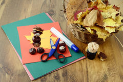 Tinker chestnut figures. Creative autumn decoration Stock Photography