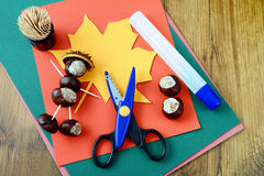 Tinker chestnut figures. Creative autumn decoration Royalty Free Stock Photo