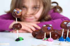 Tinker chestnut figures. Figures from natural material and clay Royalty Free Stock Image