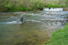 Tinker Creek Dam and a Trout Fisherman - 2. Roanoke, Virginia, April 18th: A trout fisherman on Tinker Creek with Tinker Creek Dam in the background located in Stock Photo