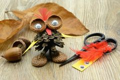 Tinker an owl with pine cone oak. Tinker an owl with pine cone, acorn and paper with feathers. plastic eyes, paper and scissor aside Royalty Free Stock Photos