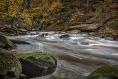 Tinker`s Creek. Beautiful autumn scene of rapids on Tinker`s Creek in Cleveland Ohio royalty free stock photo