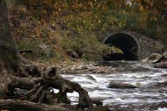 Tinker`s Creek Viaduct. Beautiful autumn scene at The Tinker`s Creek Viaduct in Cleveland Ohio royalty free stock image