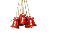 Tinkle bells. Group of tinkle bells hanging on white. isolated.vertical image Stock Image