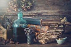 Tinkturflaskor, torra sunda örter, gamla böcker, mortel, läkande droger som behandling för perforatum för medicin för hypericum f royaltyfri foto
