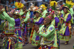 Tinkus dancers at the Oruro Carnival in Bolivia Royalty Free Stock Photography