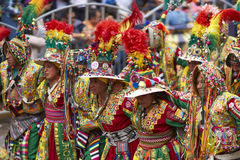 Tinkus dancers at the Oruro Carnival in Bolivia Royalty Free Stock Images