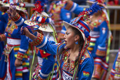 Tinkus dancers at the Oruro Carnival in Bolivia Royalty Free Stock Photo