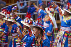 Tinkus dancers at the Oruro Carnival in Bolivia Stock Photo