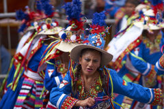 Tinkus dancers at the Oruro Carnival in Bolivia Royalty Free Stock Photos
