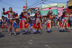 Tinkus tana grupa w Arica, Chile fotografia royalty free