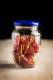 Tinned chilli peppers Royalty Free Stock Image