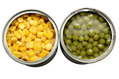 Tinned corn and peas Royalty Free Stock Image