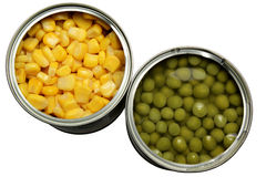 Tinned corn and peas Royalty Free Stock Images