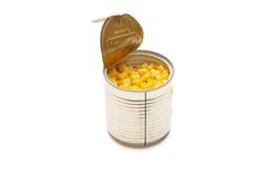 Tinned corn in a tin Stock Photo