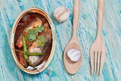 Tinned fish,Mackerel filet Stock Photos