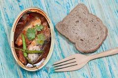 Tinned fish,Mackerel filet Royalty Free Stock Photos