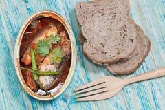Tinned fish,Mackerel filet Stock Photo