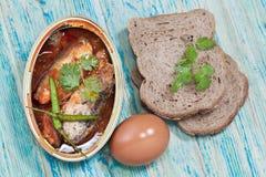 Tinned fish,Mackerel filet Stock Photography