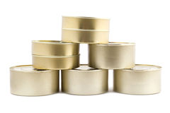 Tinned food on white royalty free stock photography
