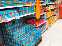 Tinned foods shelf in a superstore. Royalty Free Stock Photos