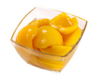 Tinned peach compote Stock Photo