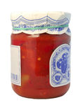 Tinned tomatoes. In a glass jar with a cover Stock Image