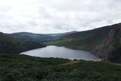 Tinnehinch lake at Wicklow Mountains. From Lough Tay Viewing Point, County Wicklow, Ireland stock photo
