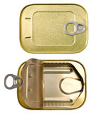 Tins. Two tins, one closed and one open stock images