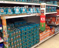 Tins of Beans in a superstore. Tins of beans stacked up in a superstore stock photography