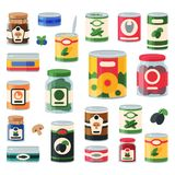 Tins canned goods food container grocery store and product storage aluminum label conserve vector illustration. Tins canned goods food container grocery store royalty free illustration