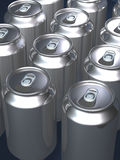 Tins cans. Closeup of multiple rows of unmarked silver tin cans with pull tops Royalty Free Stock Photo
