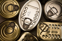 Tins of different sizes Royalty Free Stock Photography