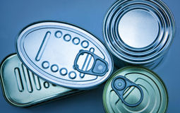 Tins of different sizes Royalty Free Stock Images