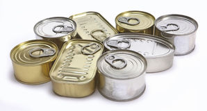 Tins of different sizes and closed Royalty Free Stock Images