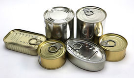 Tins of different Royalty Free Stock Images