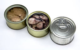 Tins of different sizes Royalty Free Stock Photo