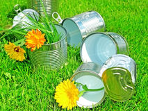 Tins in grass - recycling concept. Open empty tins in grass - recycling concept stock image