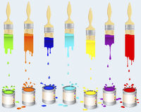 Tins of paint and flat brushes. Royalty Free Stock Photos