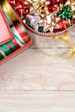 Tins of Ribbons and Bows Vertical Royalty Free Stock Photography