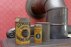 Tins on Stove Stock Photography