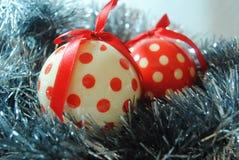 TinsDots. Polka dot Christmas Baubles in silver tinsel stock photos