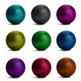 Tinsel balls set. On white background Stock Photo