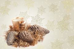 Tinsel, candle and pines, Christmas decoration. Tinsel, candle and pines, beautiful Christmas decoration Stock Images